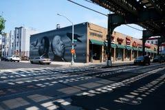 火车路轨、街道画和建筑学在布鲁克林,纽约 免版税库存图片