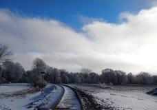 火车轨道在多雪的森林 免版税库存图片