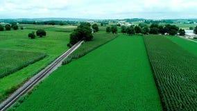 火车轨道在门诺派中的严紧派的乡下和农田如看见由寄生虫 股票视频