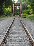 火车轨道导致叉架桥 免版税库存照片