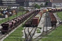 火车铁路在贝尔格莱德 免版税图库摄影