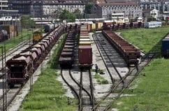 火车铁路在贝尔格莱德 图库摄影