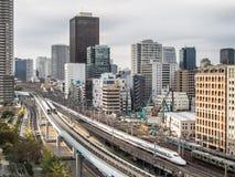 火车系统在东京,日本 免版税库存图片