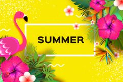 火鸟和桃红色木槿花 热带的夏天 棕榈叶,植物,赤素馨花-在纸的羽毛削减了艺术 鸟  库存图片