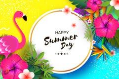 火鸟和桃红色木槿花 热带的夏天 棕榈叶,植物,赤素馨花-在纸的羽毛削减了艺术 鸟  库存照片