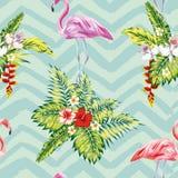 火鸟和热带植物花 库存例证