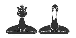 火鸟和独角兽可膨胀的海滩或者水池漂浮-在透明背景的黑剪影 皇族释放例证