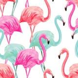 火鸟桃红色和蓝色水彩无缝的背景 免版税库存照片