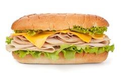 火鸡胸脯火腿、乳酪和莴苣三明治 图库摄影