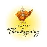 火鸡鸟美好,五颜六色的动画片愉快的感恩庆祝的,可以是用途作为飞行物、海报或者横幅 免版税库存照片