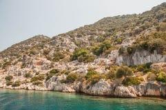 火鸡 地震毁坏的古城Kekova的地中海coastRuins 免版税图库摄影