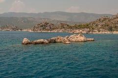 火鸡 地震毁坏的古城Kekova的地中海coastRuins 库存照片