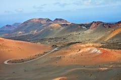火, Timanfaya国家公园山  免版税库存图片