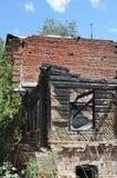 火破坏壁角垂直 免版税图库摄影