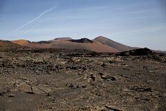 火Timanfaya国家公园兰萨罗特岛山  库存照片