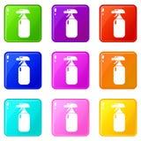 灭火器象集合9颜色汇集 向量例证