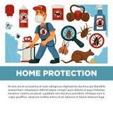 灭绝或害虫控制服务和有益健康的国内消毒作用导航平的设计海报 向量例证