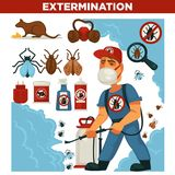 灭绝或害虫控制服务和有益健康的国内消毒作用导航平的设计海报 库存例证