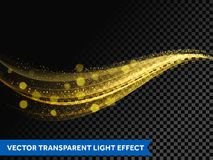 灯光管制线金子作用光闪烁与闪耀的微粒的波浪线 向量例证