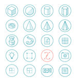灯光管制线ico为3d和图画apps设置了 免版税库存图片