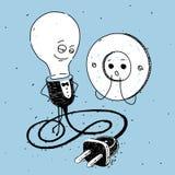 灯和插口,讽刺画 库存图片