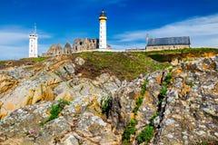 灯塔修道院, Pointe de Saint Ma全景和废墟  库存照片