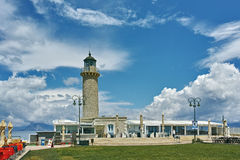 灯塔全景在帕特雷,伯罗奔尼撒,希腊 库存照片