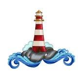 灯塔剪贴美术例证水彩 库存照片