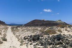 灯塔加那利群岛费埃特文图拉岛Los罗伯斯 库存图片