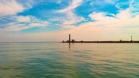 灯塔北加浪岸海滩 免版税库存照片