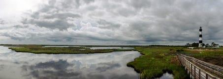 灯塔周围的沼泽地全景  免版税图库摄影