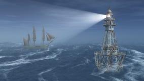 灯塔和帆船在晚上 免版税库存照片