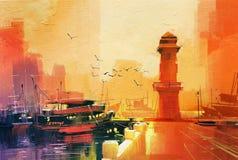 灯塔和渔船在日落 库存照片