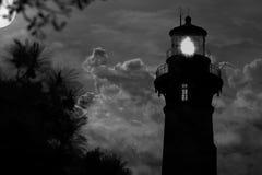 灯塔和满月 图库摄影