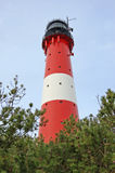灯塔在叙尔特岛海岛上的Hoernum在冬天 免版税库存照片