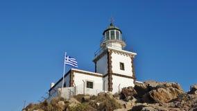 灯塔在圣托里尼,希腊 库存照片