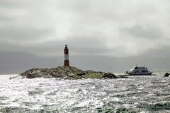 灯塔在小猎犬海峡,阿根廷的世界结束时 库存图片
