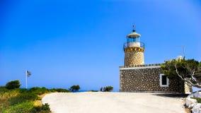 灯塔在扎金索斯州海岛,希腊 免版税库存照片