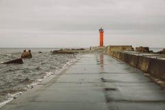 灯塔在拉脱维亚,里加 旅行照片 痣和海 库存图片