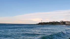 灯塔在比亚利兹,法国西南部 股票视频