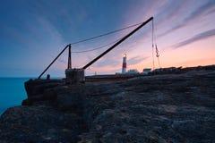 灯塔在波特兰比尔,多西特。 免版税库存照片