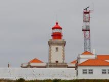 灯塔在罗卡角,西部问题美丽的景色的欧洲,辛特拉,葡萄牙 免版税库存照片