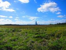 灯塔在草甸爱德华王子岛 免版税图库摄影