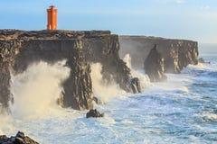 灯塔在西部冰岛 免版税库存图片