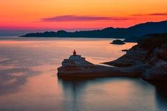 灯塔在Bonifacio可西嘉岛 库存图片