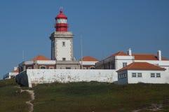 灯塔在Cabo da罗亚,葡萄牙 免版税图库摄影