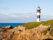 灯塔在Illa Pancha,卢戈,加利西亚,西班牙。 免版税库存图片