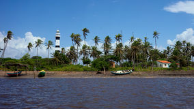 灯塔在Mandacaru, Lençois Maranhenses国家公园, Maranhao,巴西 库存照片
