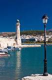灯塔在Rethymnon,克利特,希腊 免版税库存照片