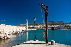 灯塔在Rethymnon,克利特,希腊 库存照片